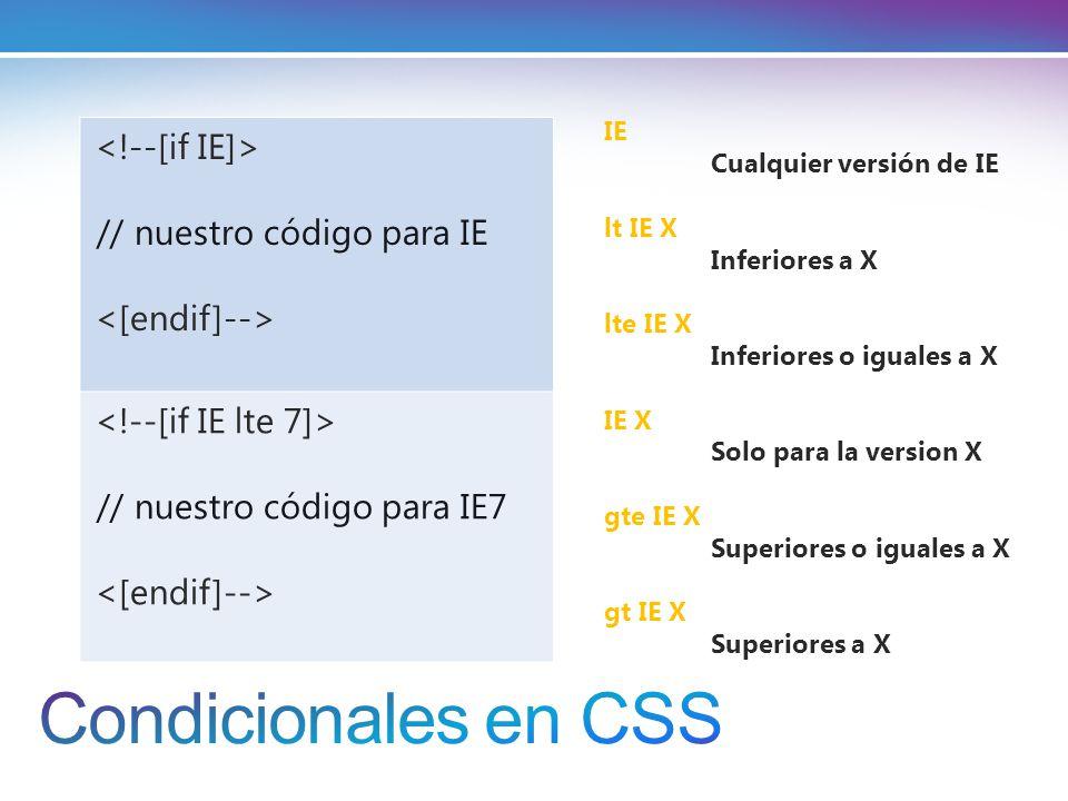 Condicionales en CSS <!--[if IE]> // nuestro código para IE